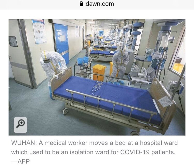 An isolation ward in Wuhan for COVID-19 patients