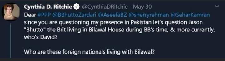 Cynthia D Ritchie questions the relationship between Bilawal Bhutto Zardari and David James