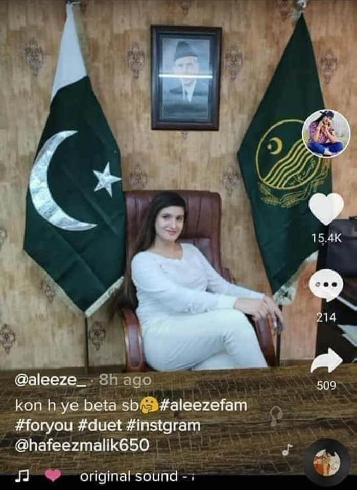 TikTok star Aleeze is sitting on the chair of Provincial minister Fayyaz ul Hassan Chohan