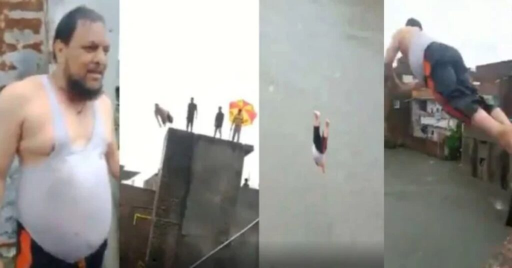 Midle-aged Man Dives into Flooded Street from Fourth Floor in an Act of Fun at Karachi