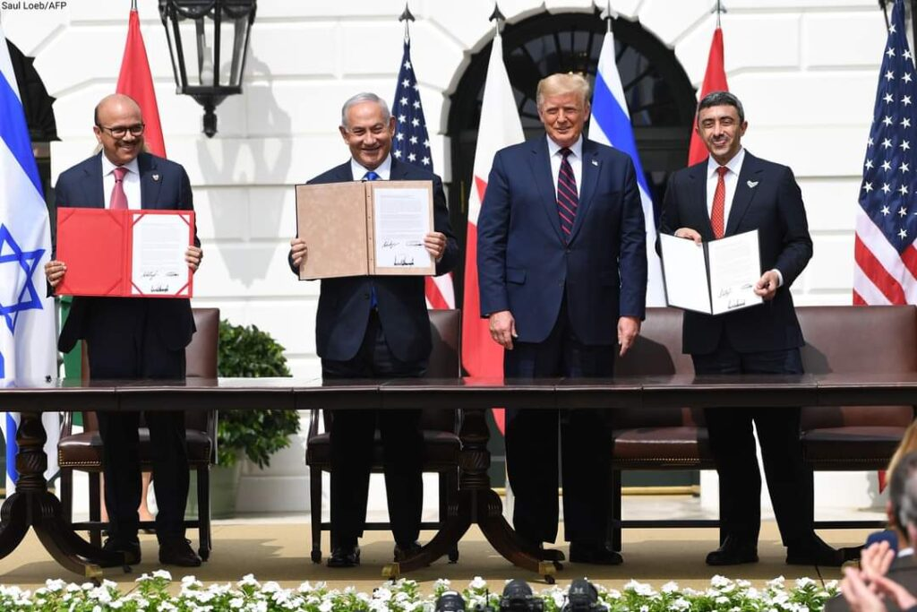 UAE Minister of Foreign Affairs and International Co-operation Sheikh Abdullah bin Zayed and Bahrain's Foreign Minister Dr Abdullatif Al Zayani signed agreements with Israeli Prime Minister Benjamin Netanyahu and Mr Trump