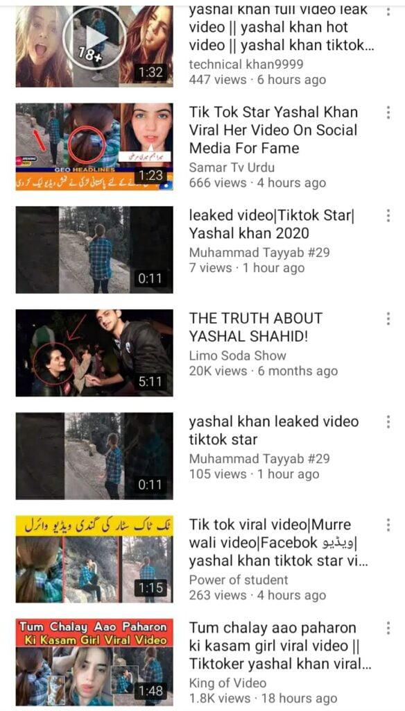 Screenshot of the reaction videos regarding Yashal Khan scandal (Murree viral video)